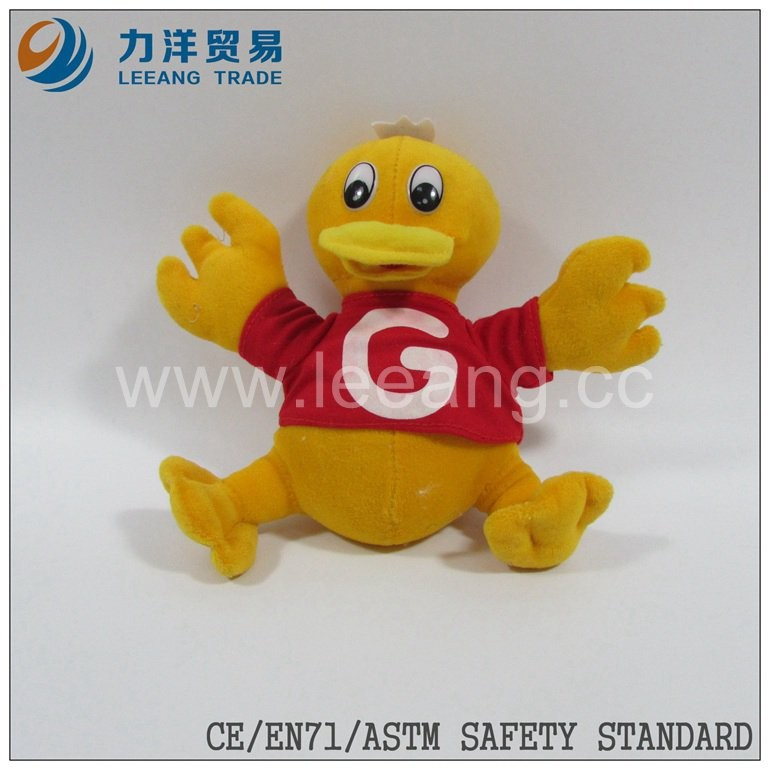 Lovely cute stuffed plush duck with T-shirt plush animals, Custom toys,CE/ASTM safety stardard
