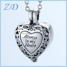 Heart Urn Pendant Cremation Jewelry Ashes Necklace Cremation Necklace Memorial Personalized Keepsake Always In My Heart