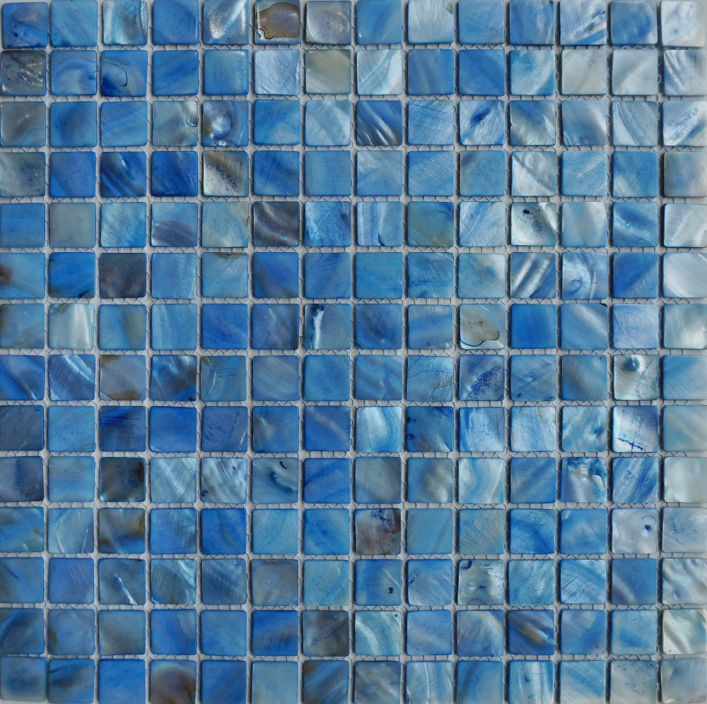 Glass tile backsplash blue