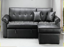 Small corner sofa bed Black PU leather