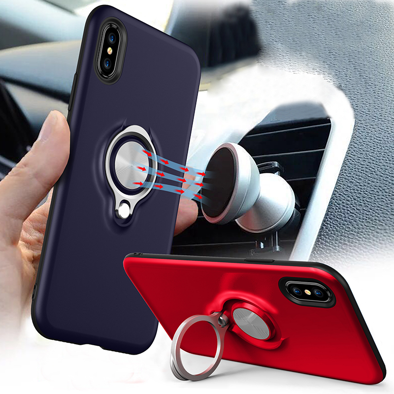 Warwolf with Ring Holder Stand Defender Case for iphone X