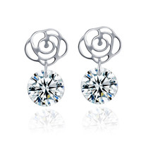 100% Sterling Silver Jewelry Rose Silver Stud Earrings Silver Earrings Top Quality!! Christmas Gift Free Shippings