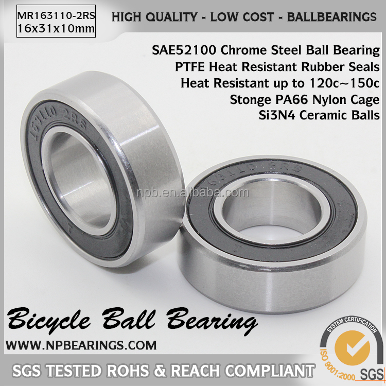 Bicycle Bearing 163110 2rs Bicycle Wheel Hub Deep Groove Ball Bearing Price List