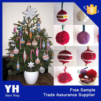2015 Attractive knitted christmas hanging ball ornament
