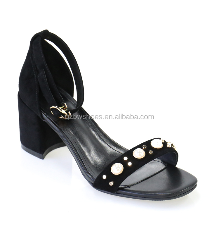 women open toe top quality summer sandals,Sexy black color suede leather upper material ladies shoes