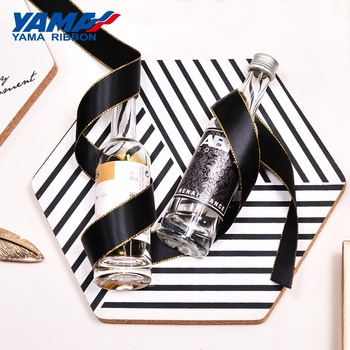 Yama factory 3-38mm polyester fashion double faced smooth gold edge satin ribbon