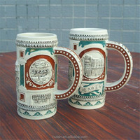 New design creative hand painted lager capacity ceramic beer mug. Coloful embossed stoneware stein with handle for drinking