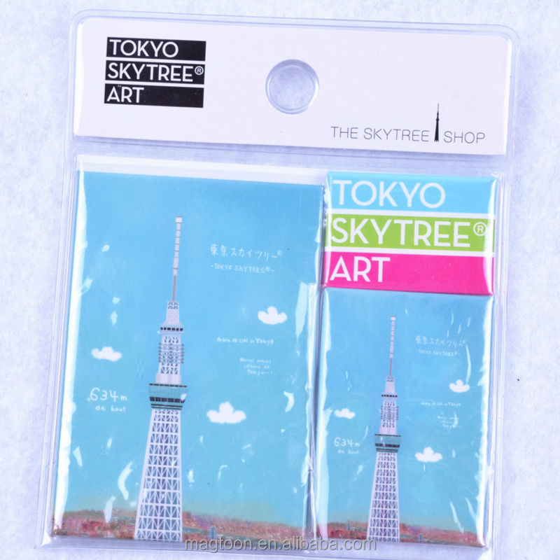 2016 factory made directly pure blue color design tokyo tower japan souvenir tin plate fridge magnets