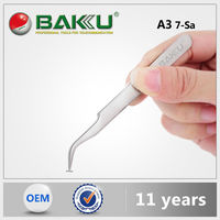 BK A3 BaKu Promotional Stainless Anti-Magnetic Anti-Acid Not-Corrosive Curved And Pointed Tip Tweezers