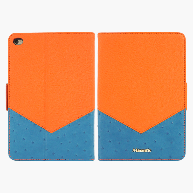 Charming ostrich pattern tablet genuine leather case for wholesale ipad Mini 4