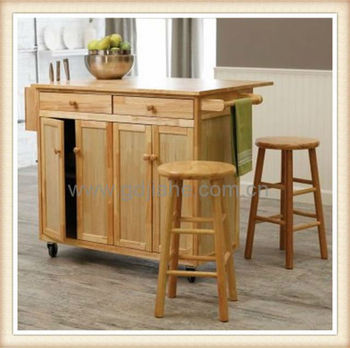 Mobile Wood Kitchen Food Trolley,Rubber Wood Kitchen Trolley Kitchen Furniture