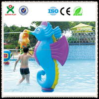Beautiful/Colorful plastic seahorse water park equipment fountain in amusement park (QX-082B)