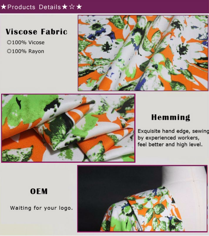 High Quality Digital Print viscose fabric HF7