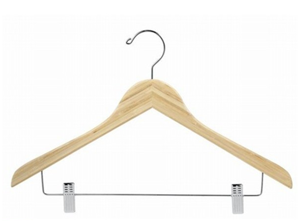 eco friendly, cheap aminated flat bamboo pants hanger with clips in adult size