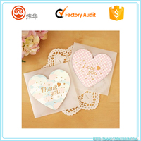 Fancy paper small heart shape thank you blank greeting card with envelope