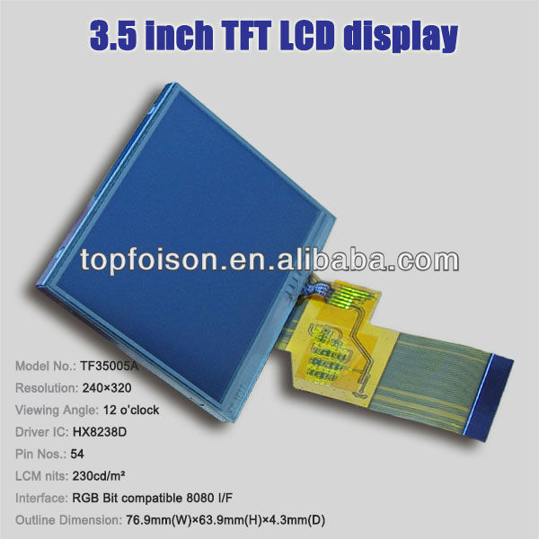 Professional supply 3.5inch tft java games touch screen module 320*240 12:00 viewing angle TF35005A