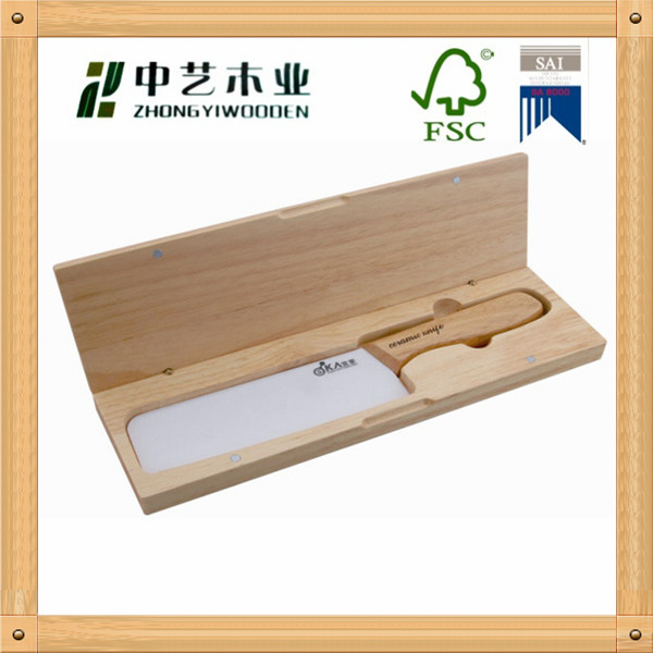 Wholesale handmade unpainted pine wooden knife box wooden cutter box with hinged lid