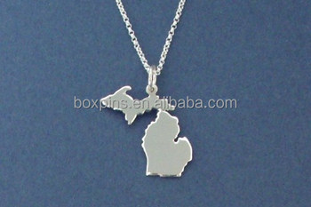 Hot selling cheap custom metal michigan necklace wholesale
