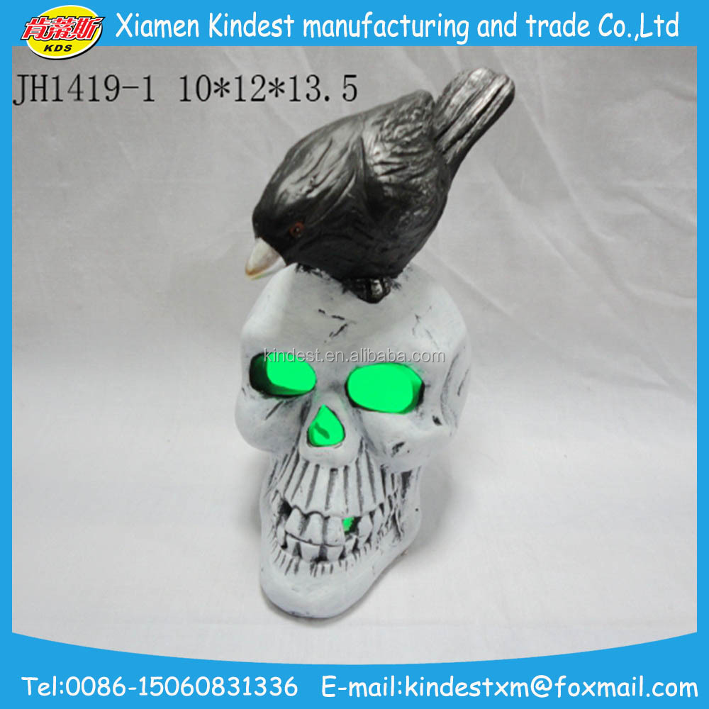 white Halloween wholesaler decorative ceramic skulls with led light for party