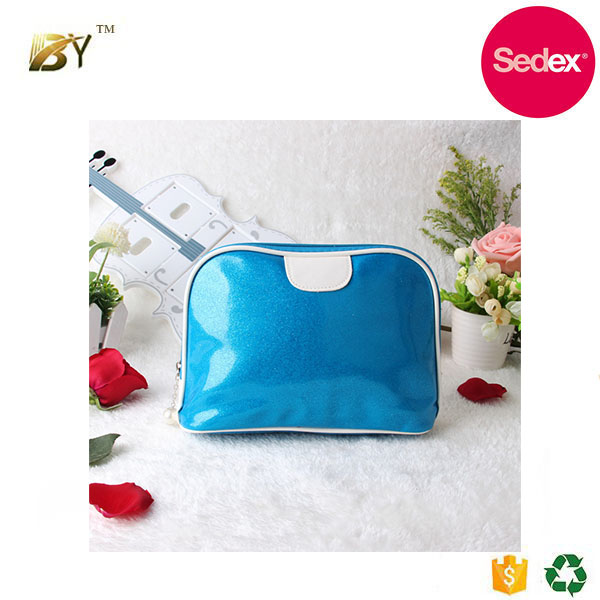 Sedex audit factory wholesale metalic pu leather cosmetic pouch