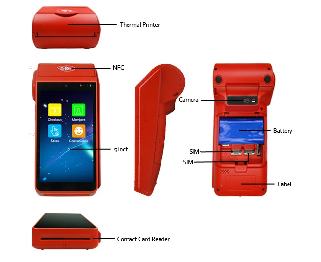 Mini Android  Pos  Terminal With Software For Pop3 Email Orders Printing