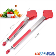 Food Grade Red silicone BBQ kitchen scissor tongs barbecue grill silicone food tongs