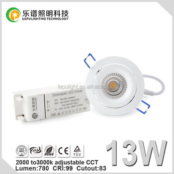 anti glare warm dim 0-100% dimmable 2000k to 3000k cob led downlight with reflector lens IP44
