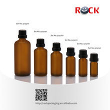 Hot sale 5ml 10ml 15ml 30ml 50ml 100ml thin essential oil amber glass bottle with black screw cap and plastic reducer