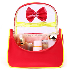 New Lady Portable Microfiber Cosmetics Makeup Organizer Butterfly Bow Wash Bag Travel Toiletry Bag with Transparent Window