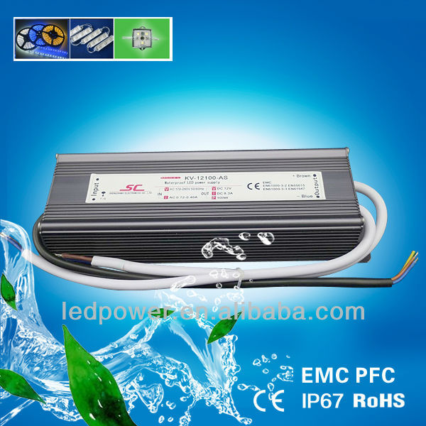 KV-12100-AS output 12V 8.33A PFC EMC Waterproof Constant Voltage LED Driver