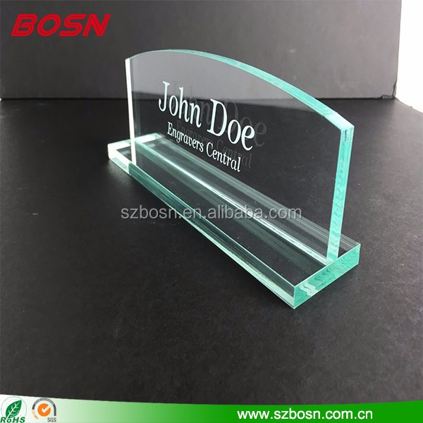 Custom crystal etching sign display tabletop perspex name plate block for office