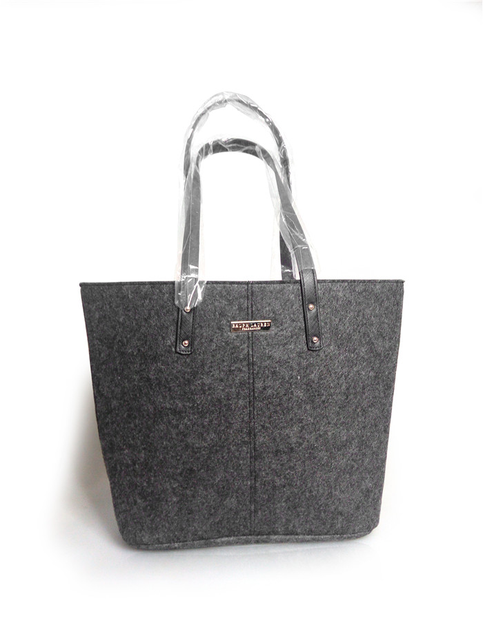 Fashion Black Felt Fabric Tote Bag Felt Large Shoulder Bag with Handles Shopping Bag from Factory Directly