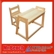 Solid pine wood material and wooden kindergarten furniture, adjustable height children study table and chair set