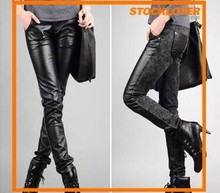 Glossy Black PU pants for Lady Stock Lot
