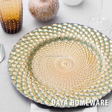 GP0003-2 Wholesale dishes clear fancy glass wedding charger plates for hotel and restaurants