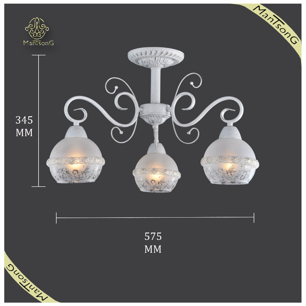 Wholesale Inoor Classic Ceiling Light,White Iron Glass Ceiling Lamp for Home
