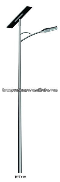 HY 7m solar street light pole(poste de luz solar,Sonnenlichtmast) HDG with Coating with one bracket with CE for led street light