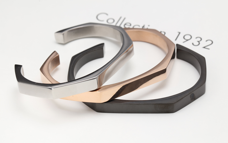 fashion stainless steel zircon rose gold or black plated bangle