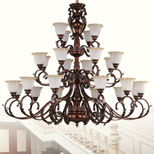 Fashionable design 2017 luxury european style three layers ancient glass chandelier lighting for hotel decoration
