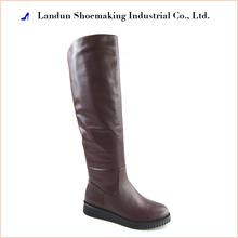 Fashion designed flat heel knee high leather boots women 2017