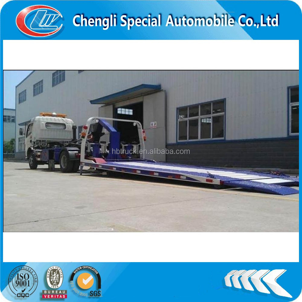 DongFeng 4x2 0 degree flatbed wrecker towing truck