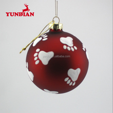 Factory wholesale hanging decorative red wire glass christmas tree ball ornaments