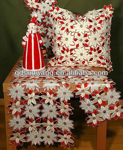 christmas embroidered flower tablecloths