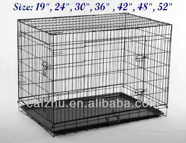 "24"" Two Doors aluminum Folding wire Dog Cage with Metal Panel galvanized"