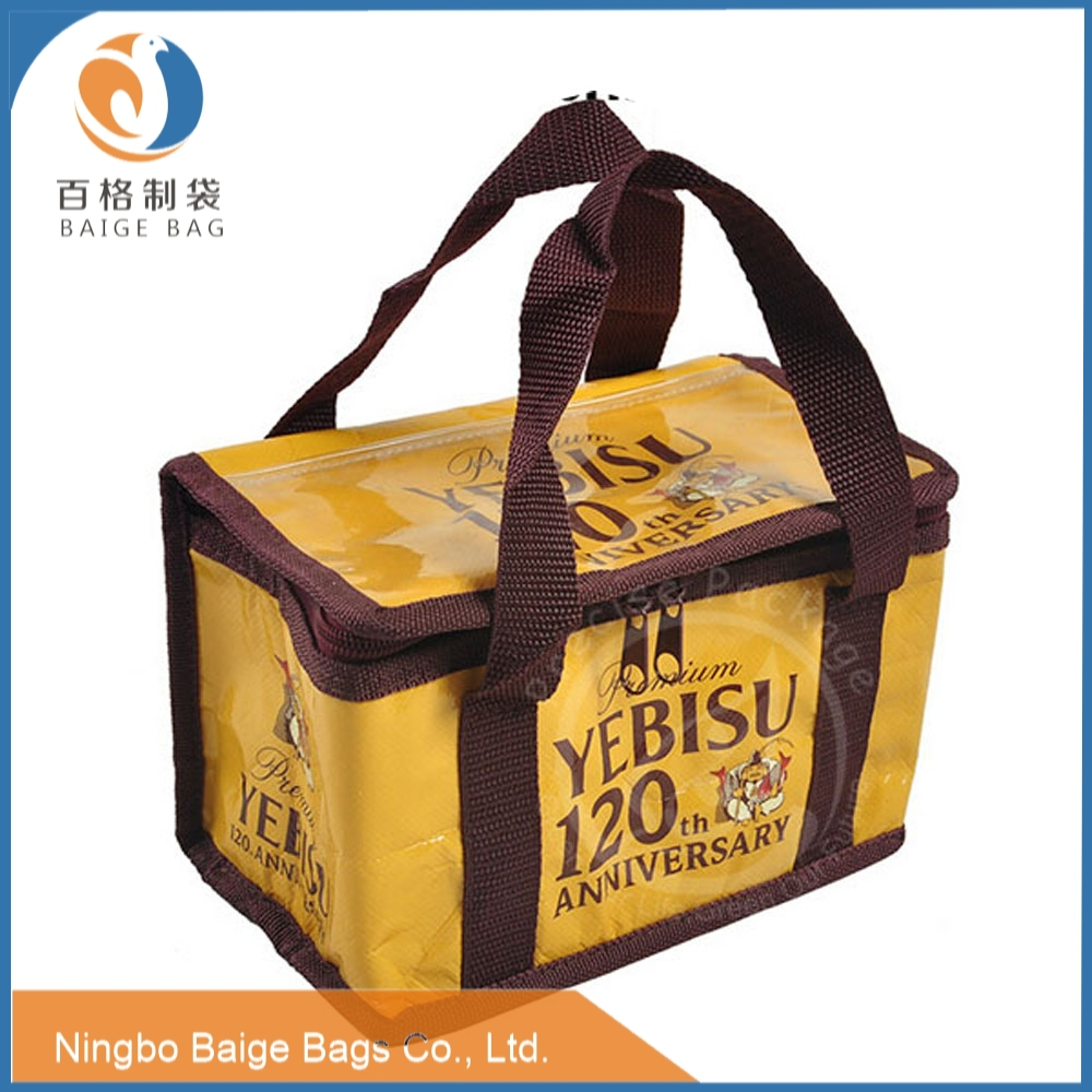 laminated pp woven Rpet refrigerated beer bottle cooler bag