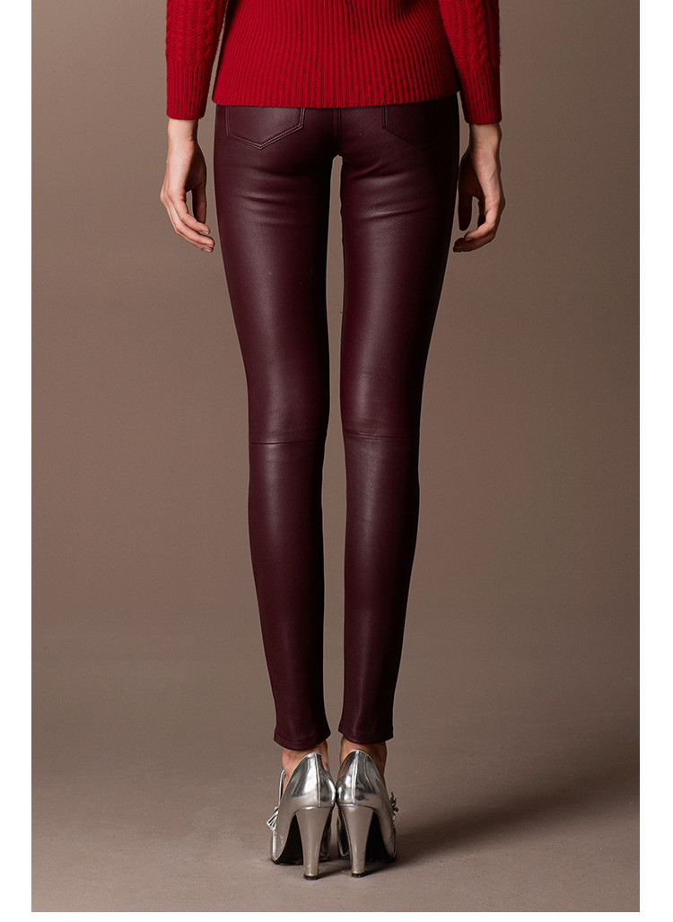 Black Lambskin Stretch Leather Leggings Pants for Women
