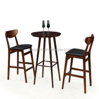 Guangzhou wholesale bar furniture set high end bar wood stools chair round table(FOH-BCA69)