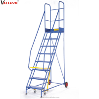 Steel Structure Mobile Adjustable Moving 3 Step Stool