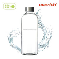 1 liter glass milk bottle / glass bottle with metal lid