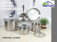 modern kitchen cabinet designs 8pcs stainless steel cookware set with silicon handle including milk pot